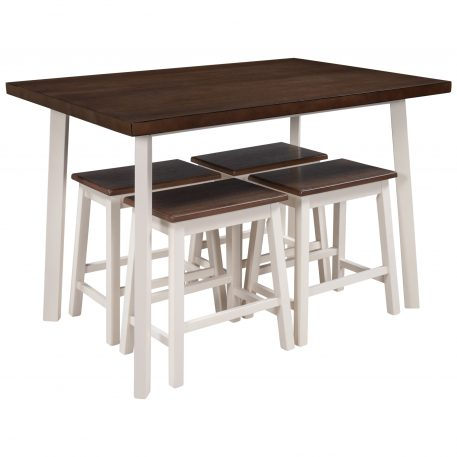 5-Piece Rustic Wood Kitchen Dining Table Set