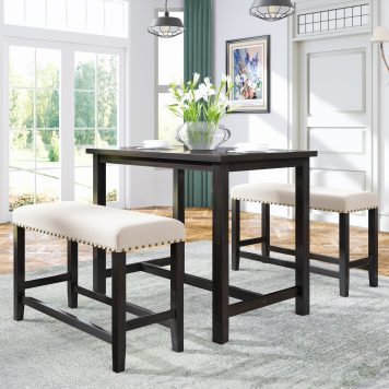 3 Pieces Rustic Wooden Counter Height Dining Table Set