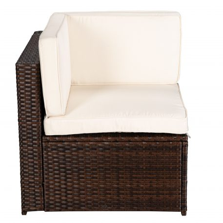 4-Piece Brown PE Rattan Wicker Sectional Beige Cushioned Sofa Sets