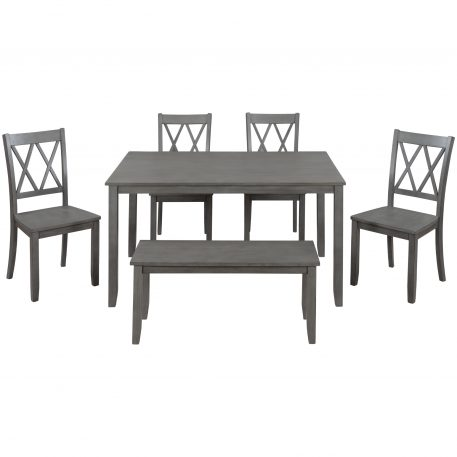 6-Piece Wooden Farmhouse Rustic Dining Table Set