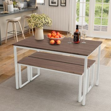 3-Piece Dining Table Set with Two Benches