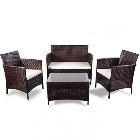 4 Pieces Rattan Sofa Seating Group with Cushions