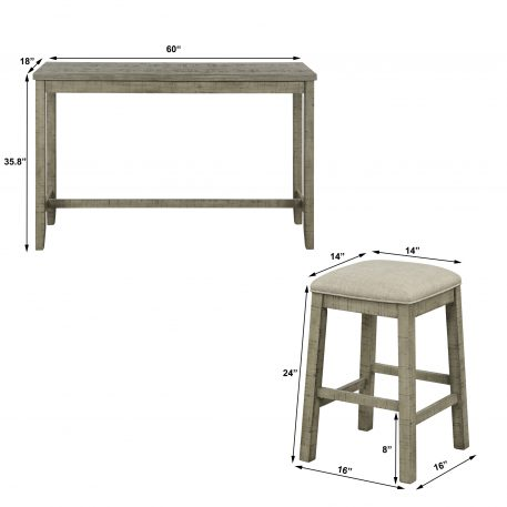 4 Pieces Counter Height Table with Fabric Padded Stools
