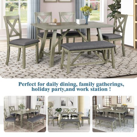 Rustic Style 6 Piece Wood Dining Table Set