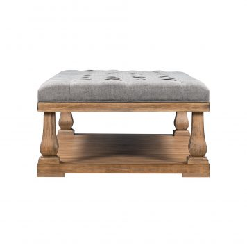Upholstered Storage Bench with Wood Shelf