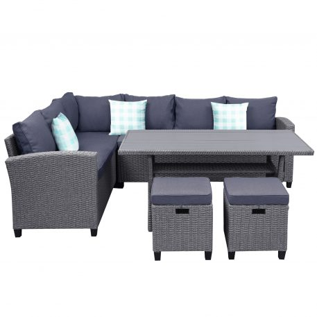 5 Piece Outdoor Conversation Set,  Dining Table Chair With Ottoman And Throw Pillows