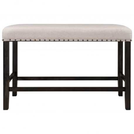 Rustic Wooden Upholstered Dining Bench