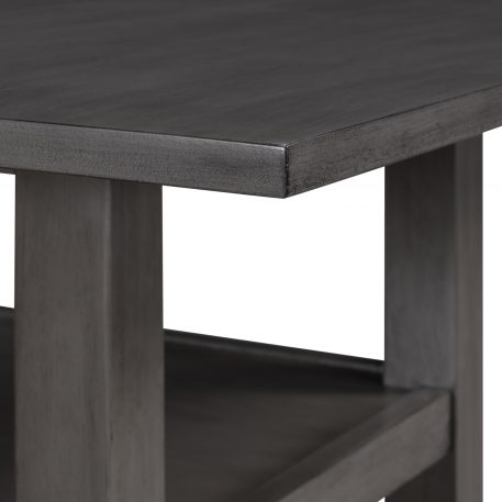 Counter Height Wood Kitchen Dining Table Set With Storage Cupboard And Shelf