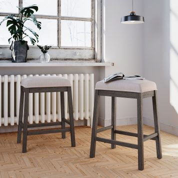 2-Piece Counter Height Wood Kitchen Dining Stools