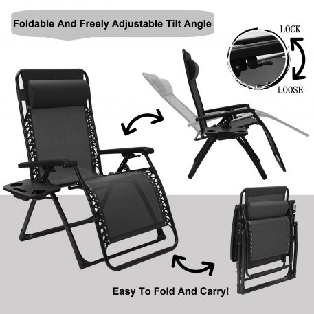Folding Zero Gravity Lounge Chair with Pillow and Cup Holder