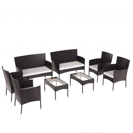 8 Piece Outdoor Garden Rattan Patio Furniture Set