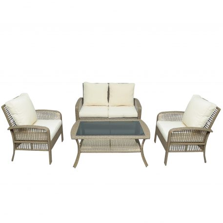 Outdoor 4 Pieces Rattan Sofa Seating Group With Cushions