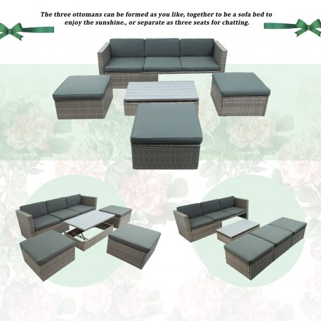 5-Piece Patio Wicker Sofa with Adustable Backrest, Cushions, Ottomans and Lift Top Coffee Table