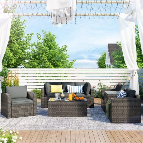 7-Piece Patio Wicker Sofa , Cushions, Chairs , A Loveseat , A Table And A Storage Box