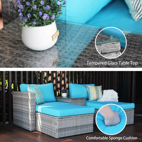 5 Pieces Outdoor Wicker Sectional Sofa Set