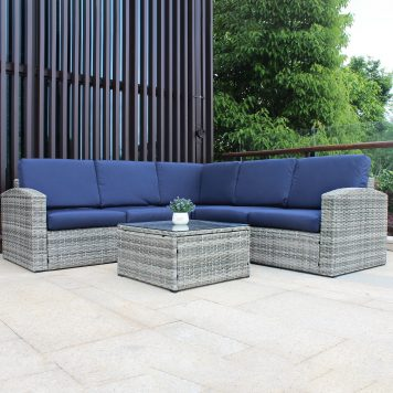 6 Pieces Outdoor Wicker Sectional Sofa Set