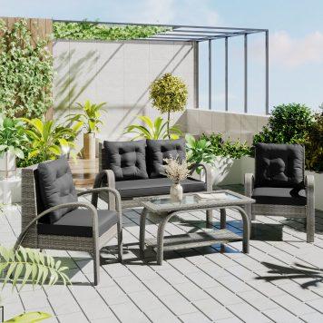 Outdoor Patio 4-Piece Sectional Rattan Sofa Set