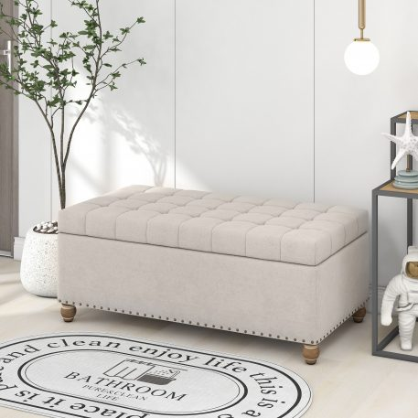 Upholstered Flip Top Storage Bench With Tufted Top, Rubber Wood Legs