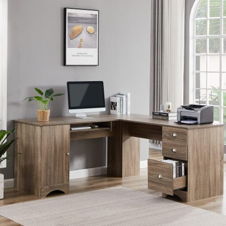 L-shaped Computer Desk With Storage And Shelf