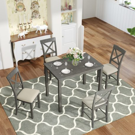 5-Piece Counter Height Dining Table Set With 4 Upholstered Chairs