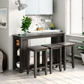 4 Piece Counter Height Table with 3 Stools and Storage Shelves