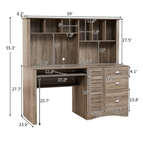 Home Office Desk Computer Desk with Storage and Shelf