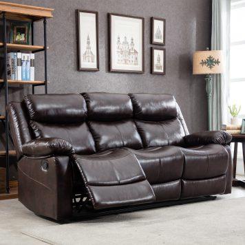 PU Leather Reclining Living Room Sofa