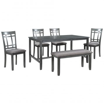 6 Piece Wooden Dining Table Set
