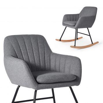 Modern Fabric Rocking Chair, Dark Gray