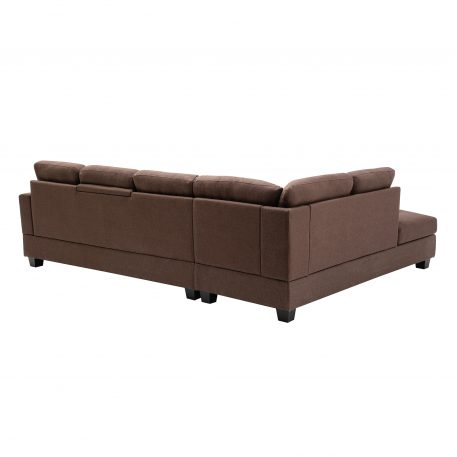 Reversible Sectional Sofa with 2 Outlets & USB Ports, Chocolate