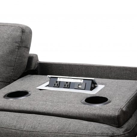 Reversible Sectional Sofa with 2 Outlets & USB Ports, Gray