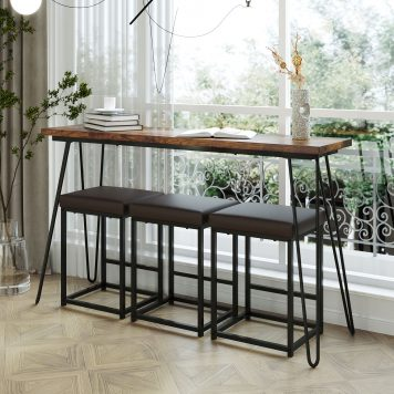 4 Pieces Counter Height Extra Long Dining Table Set