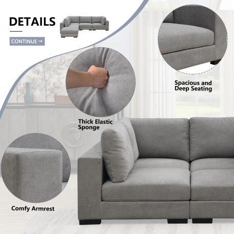 Modular Customizable and Reconfigurable Deep Seating, Armless Sofa, Gray