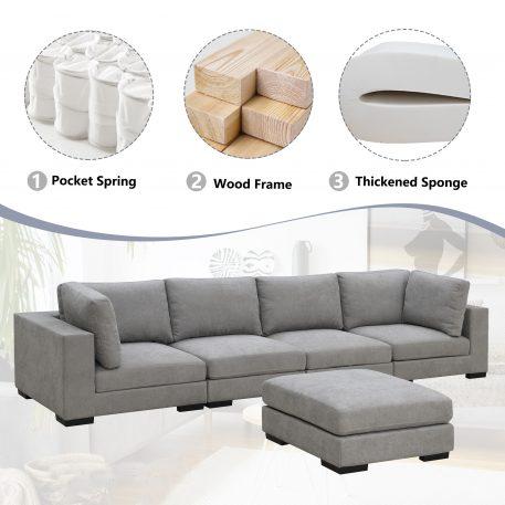 Modular Customizable and Reconfigurable Deep Seating, Ottoman, Gray