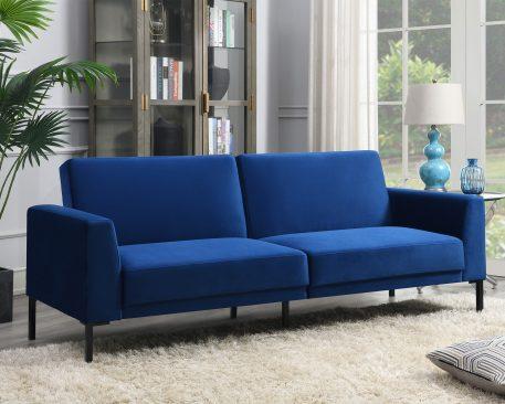 Velvet Upholstered Modern Convertible Folding Futon Sofa Bed