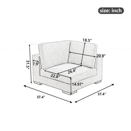 Modular Customizable and Reconfigurable Deep Seating, Corner Sofa, Gray