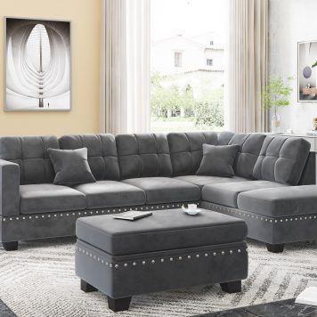 """105"""" Reversible Sectional Sofa With Storage Ottoman & Cup Holders"""