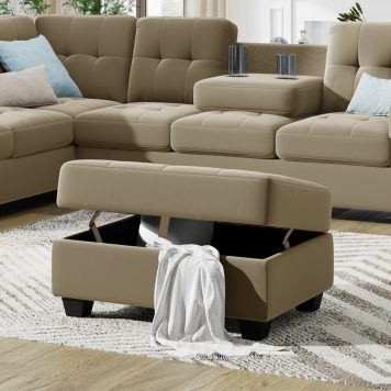 Reversible Sectional Sofa with Storage Ottoman & Cup Holders