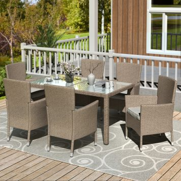 7 Piece Patio Dinning Table Beige-brown Wicker Furniture Seating